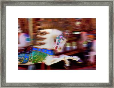 Carousel Horse In Motion Framed Print by Garry Gay