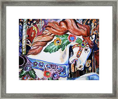 Framed Print featuring the painting Carousel Horse by Mary Haley-Rocks