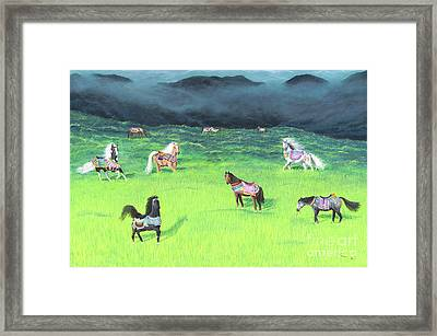 Framed Print featuring the painting Carousel Horse Retirement by Cindy Lee Longhini