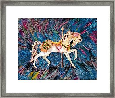 Carousel Horse With Dark Background Framed Print by Brenda Adams