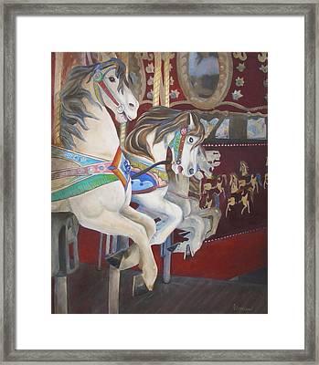 Carousel Horses Framed Print by Linda Cleveland