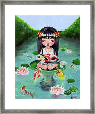 Carp And Girl Framed Print by Akiko Okabe