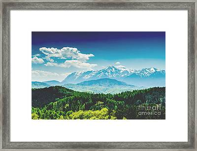 Carpathian Mountains Landscape With Blue Sky In Summer Framed Print by Radu Bercan