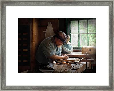 Carpenter - Carving The Figurehead  Framed Print