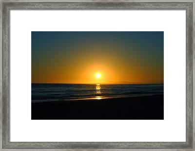 Carpinteria State Beach At Sunset Framed Print by Bransen Devey