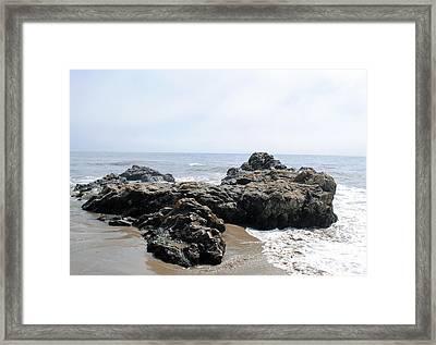 Carpinteria State Beach Rocks Framed Print by Bransen Devey