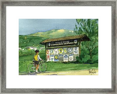 Carpinteria Welcome Sign Framed Print by Ray Cole