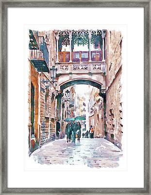 Carrer Del Bisbe - Barcelona Framed Print by Marian Voicu