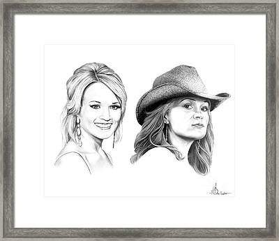 Carrie And Carrie Underwood Framed Print by Murphy Elliott