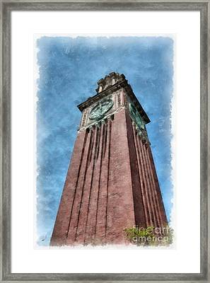 Carrie Clock Tower Brown University Providence Ri Framed Print by Edward Fielding