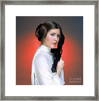 Carrie Fisher As Star Wars Character Princess Leia  Framed Print by The Titanic Project