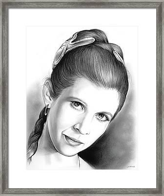 Carrie Fisher Framed Print by Greg Joens