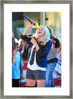 Carrie Underwood On Stage For Nbc Today Framed Print by Everett