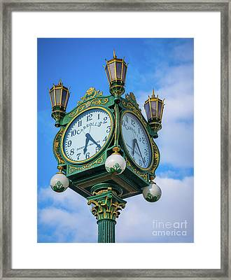 Carrolls Jewelers Clock Framed Print by Inge Johnsson