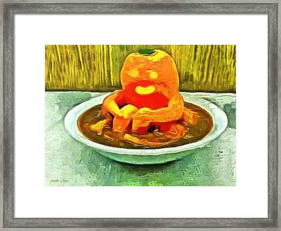 Carrot Bath Time - Da Framed Print by Leonardo Digenio