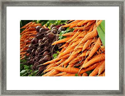 Carrots And Beets Framed Print by Cathie Tyler