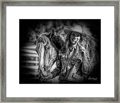 Carrots Cowgirls And Horses  Black Framed Print