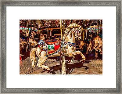Carrousel Horse Ride Framed Print by Garry Gay