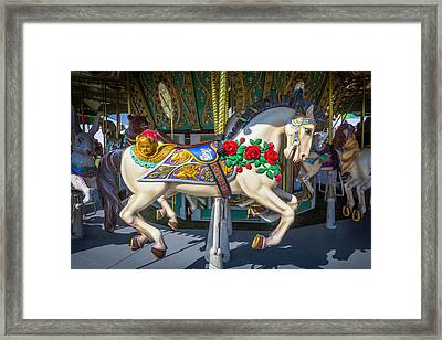 Carrousel Horse With Roses And Angel Framed Print by Garry Gay