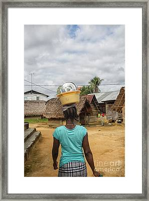 Carrying Dishes Framed Print by Patricia Hofmeester