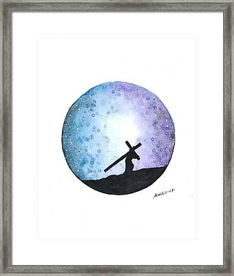 Carrying The Cross Framed Print by Edwin Alverio