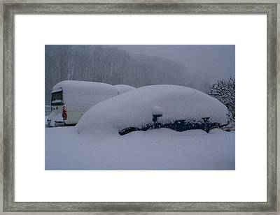 Cars During Snowpocalypse Framed Print
