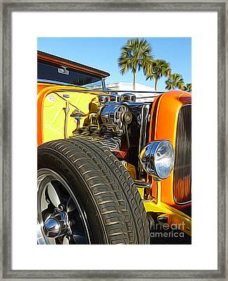 Cars - 1932 Ford Roadster Hot Rod - Engine And Tire Close Up Framed Print by Jason Freedman
