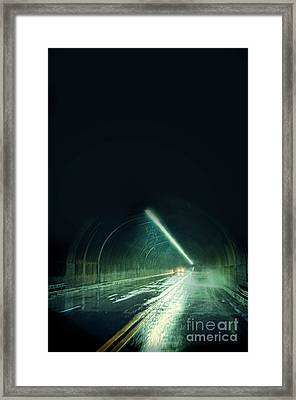 Cars In A Dark Tunnel Framed Print by Jill Battaglia