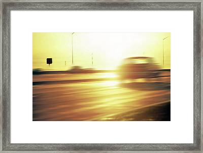 Cars On Freeway 3 - Evening Commute Framed Print by Steve Ohlsen