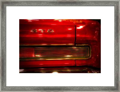 Cars Pontiac Gto Dreamy Red Framed Print by Thomas Woolworth