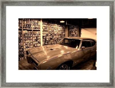 Cars Pontiac Gto The Judge Sepia Framed Print by Thomas Woolworth