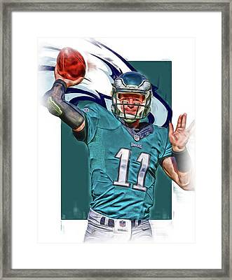 Carson Wentz Philadelphia Eagles Oil Art 2 Framed Print