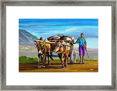 Cart Man Framed Print
