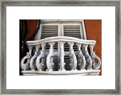 Cartagena Shutters Framed Print by John Rizzuto