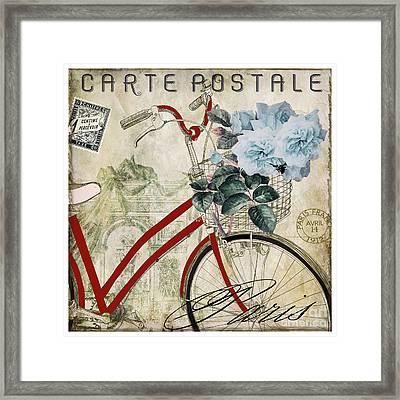 Carte Postale Vintage Bicycle Framed Print by Mindy Sommers