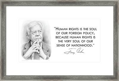 Carter On Human Rights Framed Print by Greg Joens