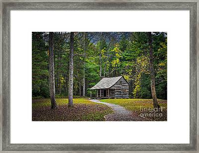 Carter Shields Cabin In Cades Cove Tn Great Smoky Mountains Landscape Framed Print by T Lowry Wilson