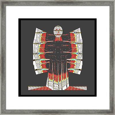 Cartoon Butterfly  Ghost  Made Of Painted Cotton Kurti Fabric For Fashion Dress From Jaipur India. Framed Print