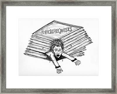 Cartoon Check Requests Framed Print