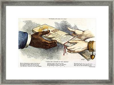 Cartoon: Civil Rights 1875 Framed Print by Granger