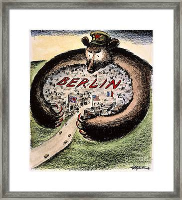 Cartoon: Cold War Berlin Framed Print by Granger
