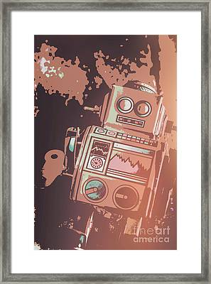 Cartoon Cyborg Robot Framed Print