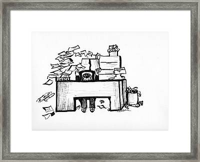 Cartoon Desk Framed Print