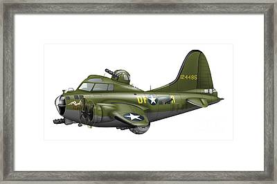 Cartoon Illustration Of A Boeing B-17 Framed Print by Inkworm