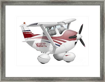 Cartoon Illustration Of A Cessna 182 Framed Print