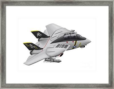 Cartoon Illustration Of A F-14 Tomcat Framed Print by Inkworm
