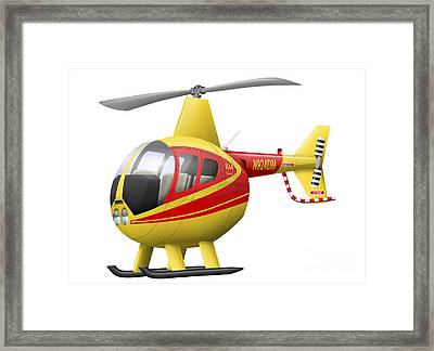 Cartoon Illustration Of A Robinson R44 Framed Print by Inkworm