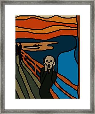 Cartoon Scream Framed Print by Jera Sky