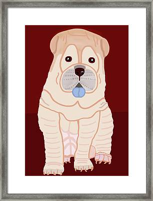 Framed Print featuring the painting Cartoon Shar Pei by Marian Cates