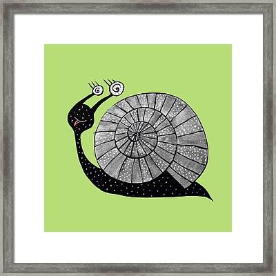 Cartoon Snail With Spiral Eyes Framed Print